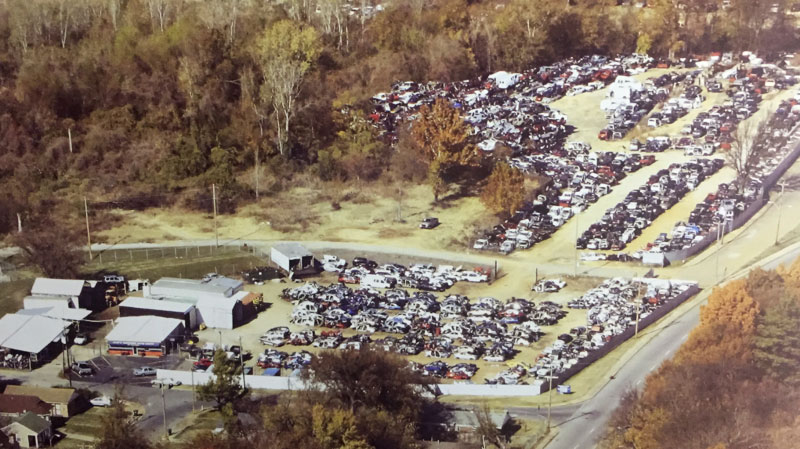 Aerial view of Warford Auto Parts, a used auto parts store and salvage yard in Memphis
